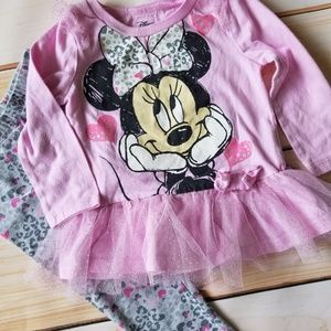 Disney Minnie Mouse Leopard Tulle 2pc Outfit 18m